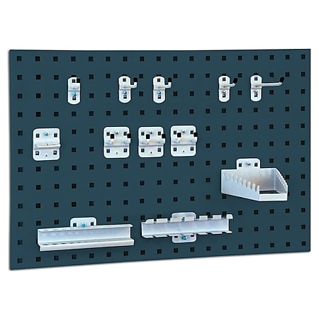 BRB System-Lochplatte mit Haken- und Halter-Set, Anthrazitgrau - Bild 1