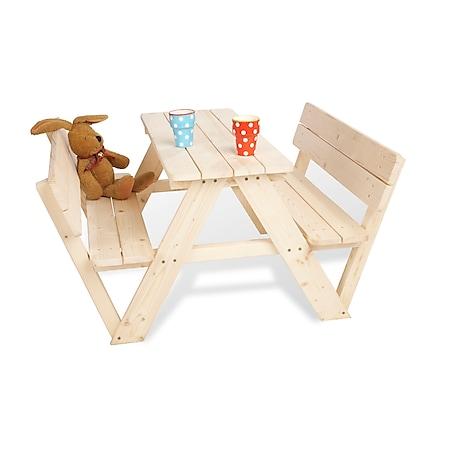 Pinolino Kindersitzgarnitur 'Nicki für 4 mit Lehne', natur - Bild 1