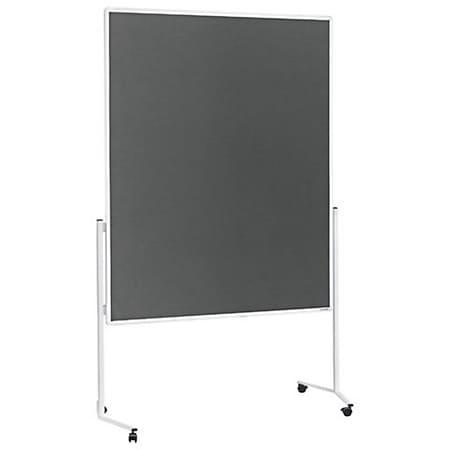 magnetoplan Moderationstafel weißer Rahmen, ungeteilt, mobil - Filz grau - Bild 1