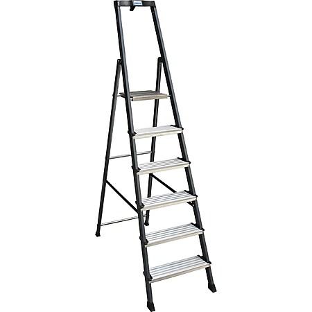 """Krause """"SePro"""" Stufen-Stehleiter, eloxiert - 6 Stufen - Bild 1"""