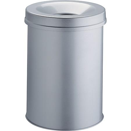 Papierkorb mit Flammlöschkopf, 30 Liter, grau - Bild 1