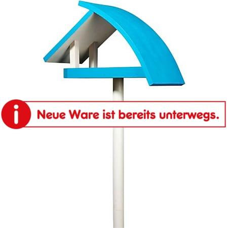 """Design-Vogelfutterhaus """"New Wave"""" in weiß mit blauem Dach, inkl. Ständer - Bild 1"""