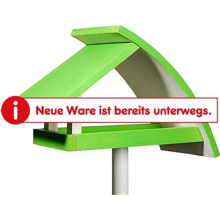 """Design-Vogelfutterhaus """"New Wave"""" in weiß mit hellgrünem Dach, inkl. Ständer - Bild 1"""