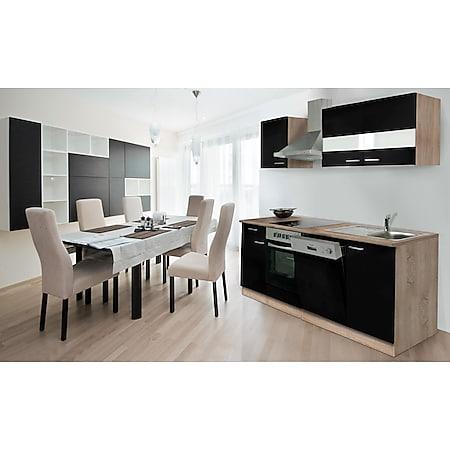 Respekta Küchenzeile KB220ESSC 220 cm Schwarz-Eiche Sägerau Nachbildung - Bild 1