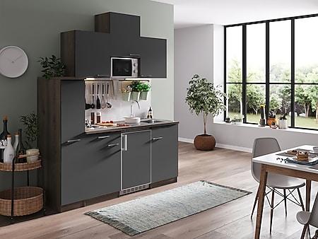 Respekta Küchenzeile KB180EYGMI 180 cm Grau-Eiche York Nachbildung - Bild 1