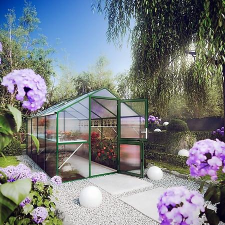 KGT Rose IV Gewächshaus - moosgrün mit Fundamentrahmen - Bild 1