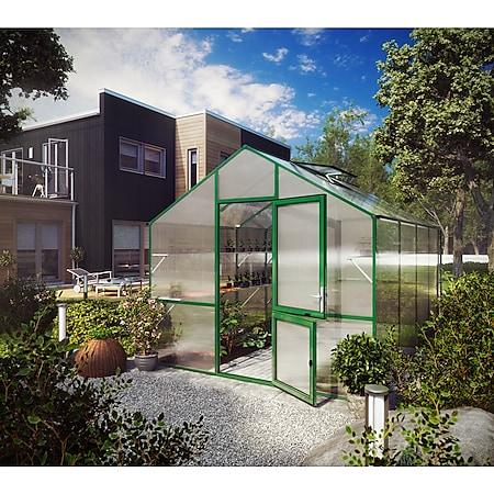 KGT Lilie III Gewächshaus - moosgrün mit Fundamentrahmen - Bild 1