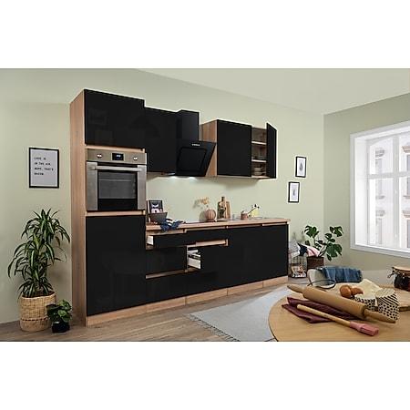 Respekta Premium grifflose Küchenzeile GLRP280HESS 280 cm Schwarz HG-Eiche Sonoma sägerau Nachb. - Bild 1