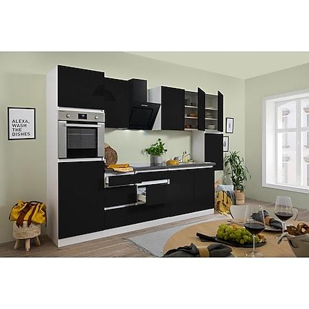 Respekta Premium grifflose Küchenzeile GLRP320HWS 320 cm Schwarz HG-Weiß - Bild 1