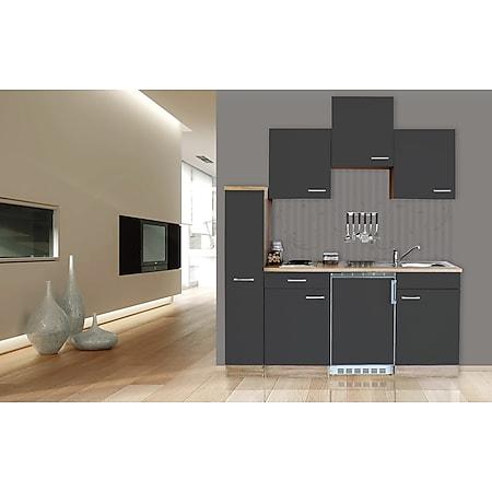 Respekta Küchenzeile KB180ESG 180 cm Grau-Eiche Sägerau Nachbildung - Bild 1