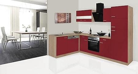 Respekta Winkelküche KBL280ESRS 280 cm Rot-Eiche Sonoma Nachbildung - Bild 1