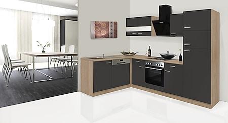 Respekta Winkelküche KBL280ESGSC 280 cm Grau-Eiche Sonoma Nachbildung - Bild 1