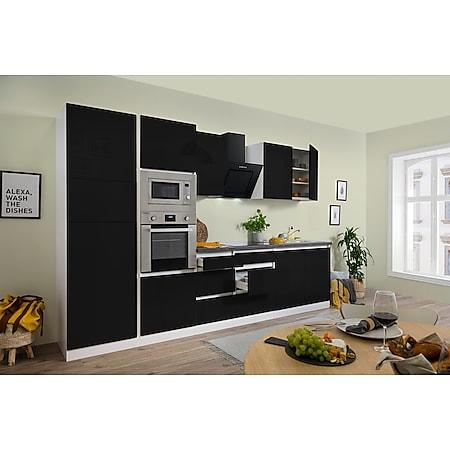 Respekta Premium grifflose Küchenzeile GLRP335HWSGKE 335 cm Schwarz HG-Weiß - Bild 1