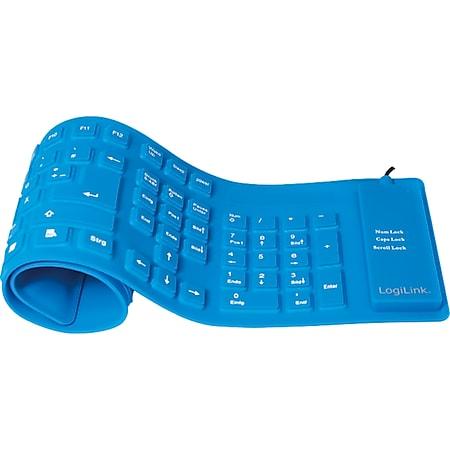 LogiLink ID0035A Tastatur Flexibel Wasserfest USB + PS/2 - blau - Bild 1