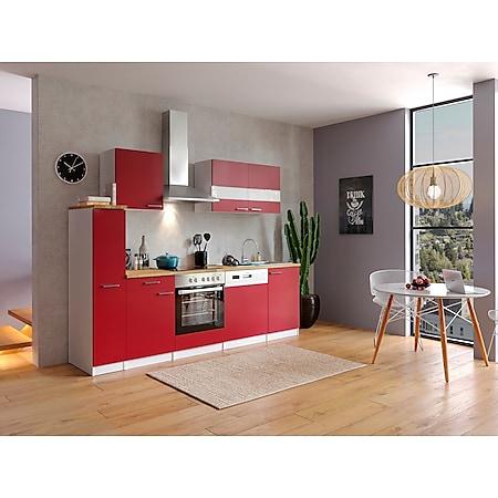 Respekta Küchenzeile KB250WRC 250 cm Weiß - Rot - Bild 1