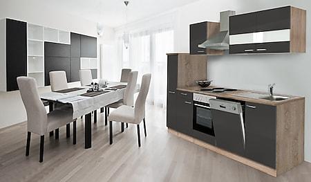 Respekta Küchenzeile KB250ESG 250 cm Grau-Eiche Sägerau Nachbildung - Bild 1