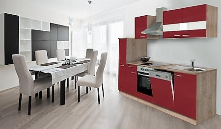 Respekta Küchenzeile KB250ESRC 250 cm Rot-Eiche Sägerau Nachbildung - Bild 1