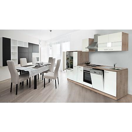 Respekta Küchenzeile KB310ESW 310 cm Weiß-Eiche Sägerau Nachbildung - Bild 1