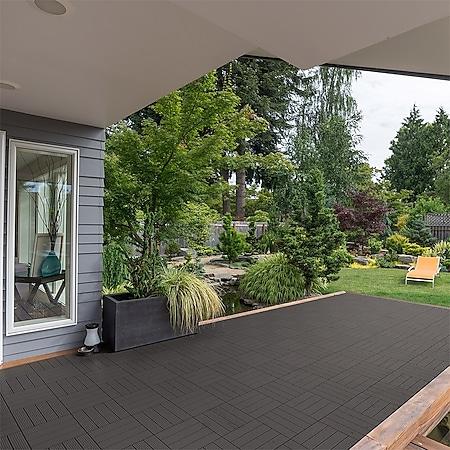 Home Deluxe WPC Terrassenfliesen, 132 Stck., 30x30cm, 12m², dunkelbraun - Bild 1