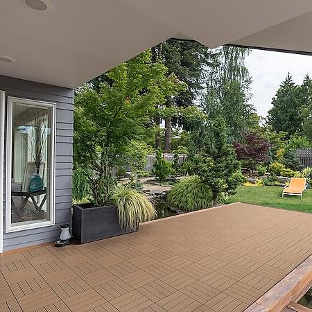 Home Deluxe WPC Terrassenfliesen, 66 Stck., 30x30cm, 6m², teak - Bild 1