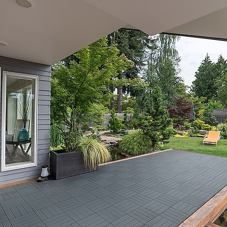 Home Deluxe WPC Terrassenfliesen, 33 Stck., 30x30cm, 3m², anthrazit - Bild 1