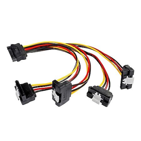 Poppstar 1x 0,2m 4-Fach S-ATA Y-Stromkabel (Sata 1x Stecker auf 4x Buchse gewinkelt) - Bild 1