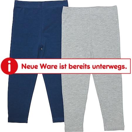 Kinder Leggings, 2er Pack - Gr. 98/104 grau + navy - Bild 1