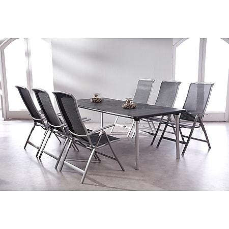 BEST 7-tlg. Gartenmöbel-Set mit 6x Klappsessel Palermo + 1x Ausziehtisch Tavolo - Bild 1