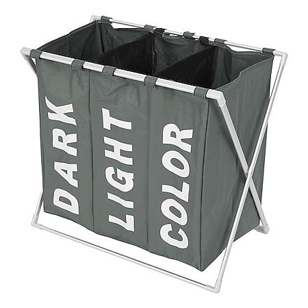 Wäschesammler MCW-C36, Laundry Wäschesortierer Wäschekorb, 3 Fächer klappbar 59x62x37cm 135l ~ grau - Bild 1