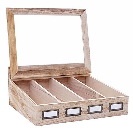 Besteckkiste MCW-C25, Holzbox mit Deckel Besteckkasten, Paulownia 17x37x33cm ~ naturbraun - Bild 1