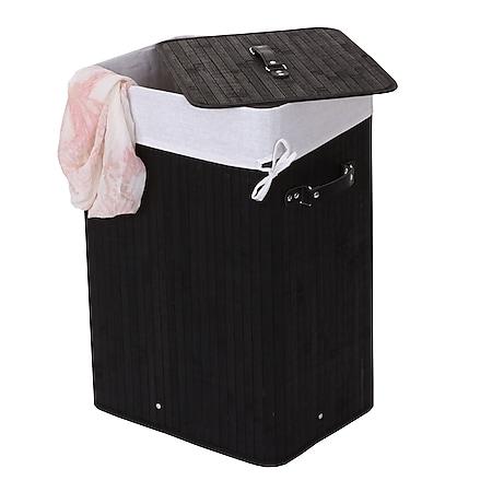 Wäschekorb MCW-C21, Laundry Wäschebox Wäschesammler Wäschebehälter Wäschetonne, 61x43x32cm 70l ~ schwarz - Bild 1