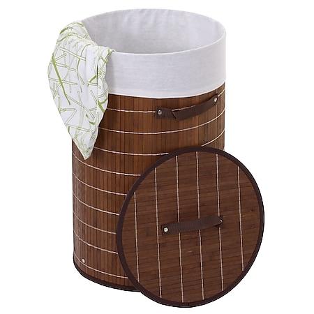 Wäschekorb MCW-C21, Laundry Wäschebox Wäschesammler Wäschebehälter Wäschetonne, Bambus rund 59x35cm 50l ~ braun - Bild 1