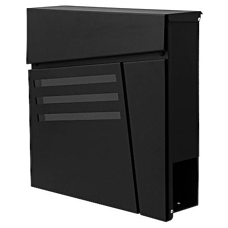Briefkasten MCW-B28, Wandbriefkasten Postkasten Zeitungsfach, pulverbeschichtet ~ schwarz - Bild 1