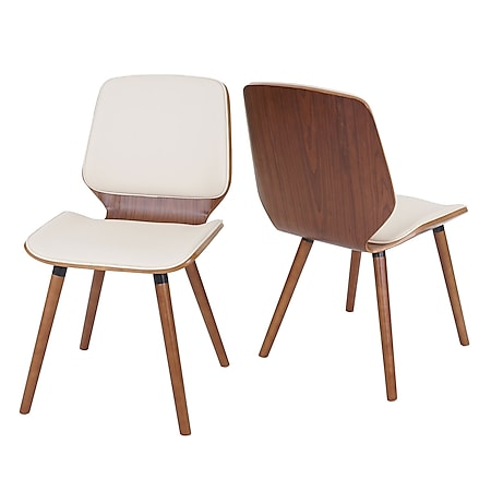 2x Esszimmerstuhl MCW-B16, Holz Bugholz Retro-Design Walnussoptik ~ Kunstleder creme - Bild 1