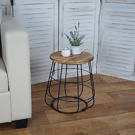 Beistelltisch mit Stauraum MCW-A80, Nachttisch Kaffeetisch, Industriedesign Echtholz Ø35cm - Bild 1