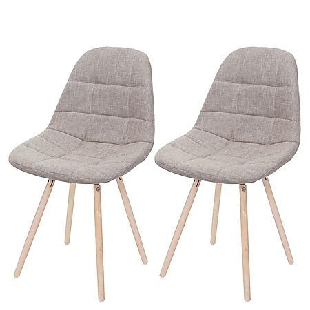 2x Esszimmerstuhl MCW-A60 II, Stuhl Küchenstuhl, Retro 50er Jahre Design ~ Stoff/Textil creme-grau - Bild 1