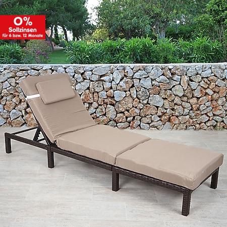 Poly-Rattan Sonnenliege MCW-A51, Relaxliege Gartenliege Liege ~ Premium braun, Kissen creme - Bild 1