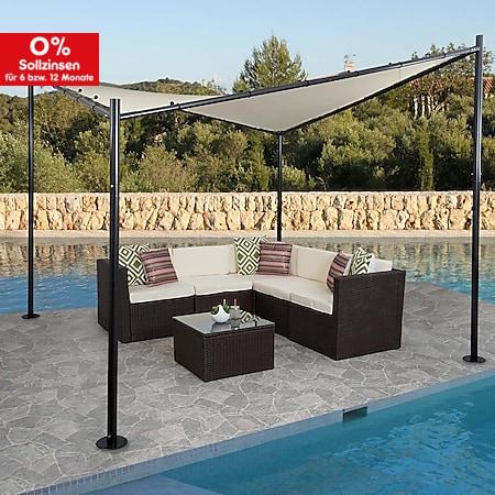 Pergola MCW-A41, Garten Pavillon Sonnensegel, stabiles 6cm Stahl-Gestell ~ 4x4m creme - Bild 1