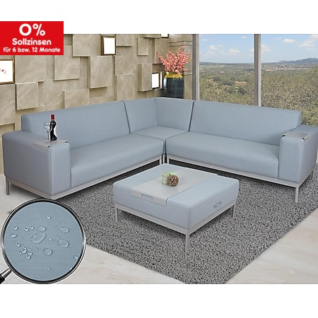 Ecksofa MCW-C47, Sofa Loungesofa Couch, Stoff/Textil Indoor wasserabweisend ~ blau mit Ablage - Bild 1