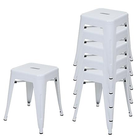 6x Hocker MCW-A73, Metallhocker Sitzhocker, Metall Industriedesign stapelbar ~ weiß - Bild 1