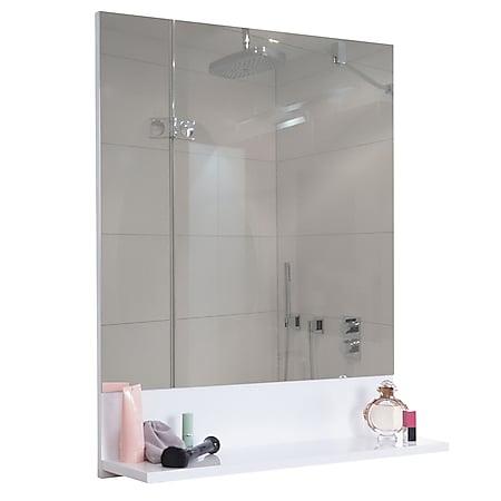Wandspiegel mit Ablage MCW-B19, Badspiegel Badezimmer, hochglanz 75x80cm ~ weiß - Bild 1