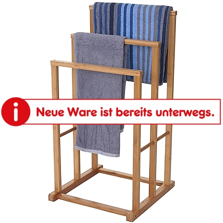 Handtuchhalter MCW-B18, Badezimmer Handtuchständer freistehend, Bambus 82x42x42cm - Bild 1