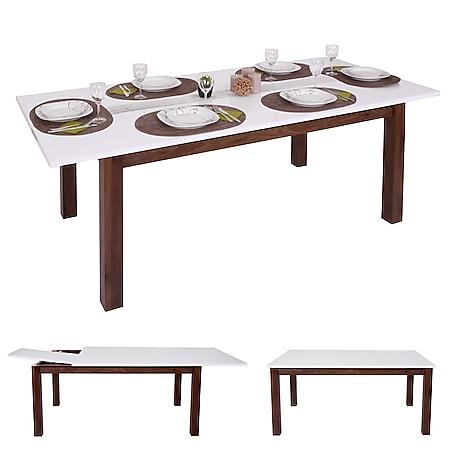 Esstisch MCW-B51, Esszimmertisch Tisch, ausziehbar hochglanz Walnuss-Optik 160-200x90cm - Bild 1