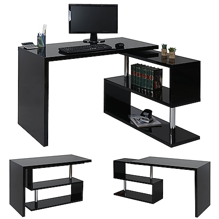 Design Eckschreibtisch MCW-A68, Bürotisch Schreibtisch, hochglanz drehbar 120x60cm ~ schwarz - Bild 1