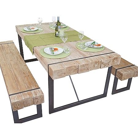 Esszimmergarnitur MCW-A15, Esstisch + 2x Sitzbank, Tanne Holz rustikal massiv ~ naturfarben 160cm - Bild 1