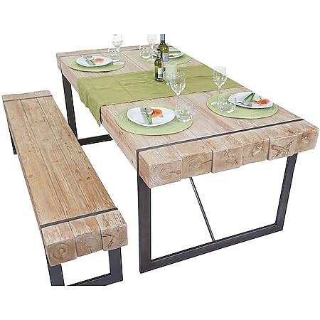 Esszimmergarnitur MCW-A15, Esstisch + 1x Sitzbank, Tanne Holz rustikal massiv ~ naturfarben 200cm - Bild 1
