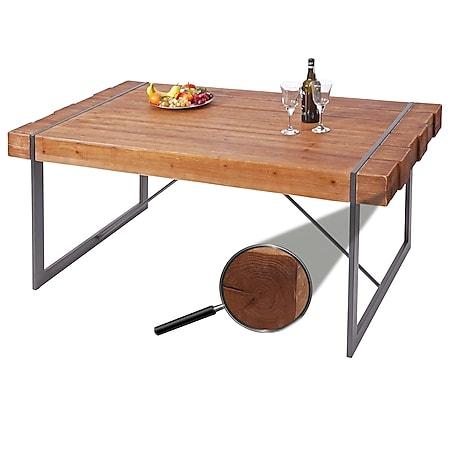 Esszimmertisch MCW-A15, Esstisch Tisch, Tanne Holz rustikal massiv ~ braun 80x160x90cm - Bild 1