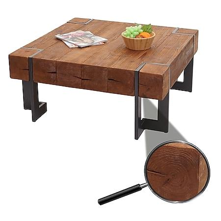 Couchtisch MCW-A15, Wohnzimmertisch, Tanne Holz rustikal massiv ~ braun 90x90cm - Bild 1