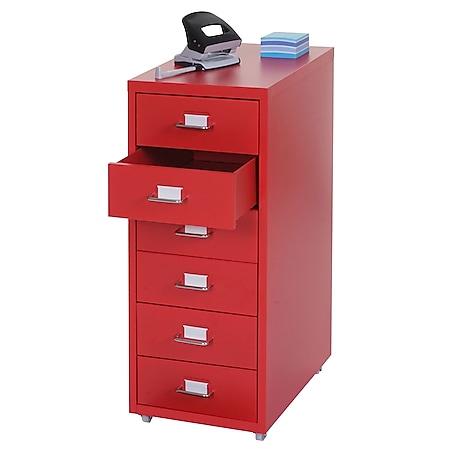 Rollcontainer Preston T851, Schubladenschrank Stahlschrank, 69x28x41cm 6 Schubladen ~ rot - Bild 1