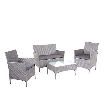 2-1-1 Poly-Rattan Garten-Garnitur Hamar, Sitzgruppe Lounge-Set Sofa ~ grau, Kissen anthrazit - Bild 1